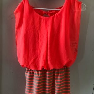 Women's orange striped mini dress